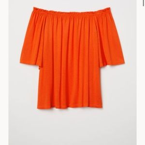 3 for $12‼️ H&M orange off the shoulder top